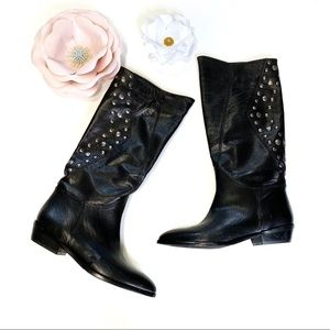 Via Spiga Black Leather Studded Pointy Boots 6